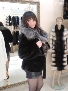 Норка канадська, курточка із англійським коміром чорнобуркою
