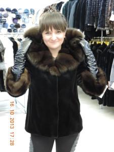 куртка  боброва з соболем