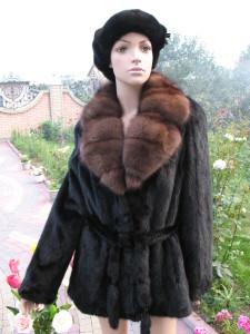 куртка з соболем англійський комір не стрижка