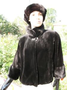 куртка норка стрижка комбінована