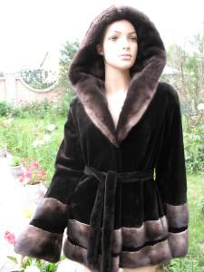 куртка норка чорна комбінована