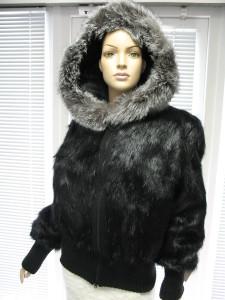куртка нутрія чорна із трикотажем капішон із чорнобуркою