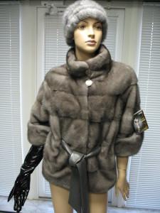 курточка норка графіт четвертний рукав канадка