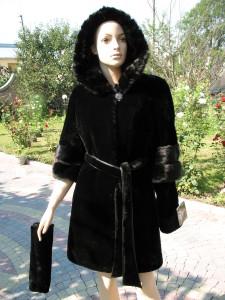 мутон з норкою чорний, зйомні рукави