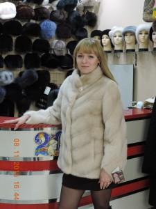 Норка канадська, курточка паркетна із коміром стійка, колір пудра