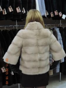 Норка канадська, курточка поперечка із 3/4 рукавом, колір пудра