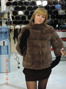 """Норка канадська, курточка поперечка із 3/4 рукавом, колір """"соболиний"""""""